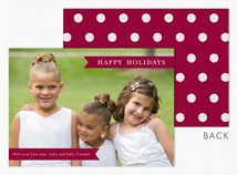 Burgundy Banners & Dots Holiday Photo Card